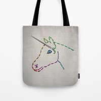 unicorn Tote Bags featuring unicorn by gazonula