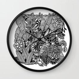 Taman Sari #1 black and white doodle art Wall Clock