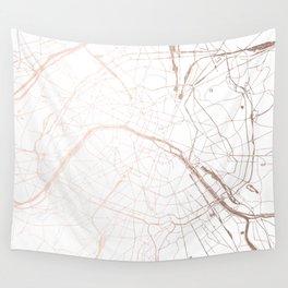 Paris France Minimal Street Map - Rose Gold Glitter Wall Tapestry