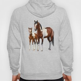 Bay Paint Horse Mare and Foal In Winter Hoody