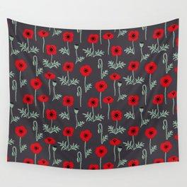 Red poppy flower pattern Wall Tapestry
