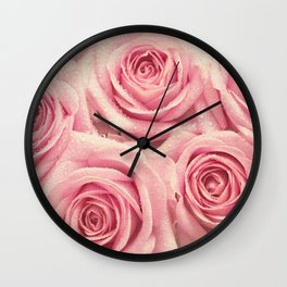 For the love of pink roses Wall Clock