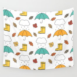 cute lovely autumn pattern with umbrellas, rain, clouds, leaves and boots Wall Tapestry