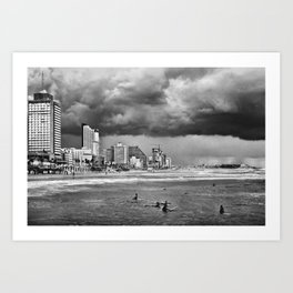 Surfers waiting for the wave, Tel-Aviv, israel Art Print