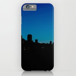 Stunning view of the silhouette of the San Francisco Bay skyline during a beautiful and dramatic sunset iPhone Case