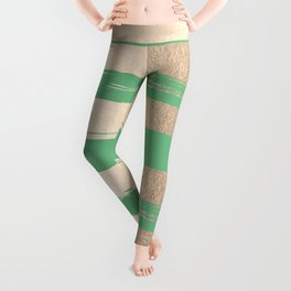 Painted Stripes Gold Tropical Green Leggings