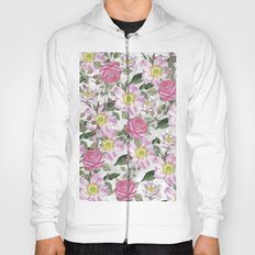 Vintage Rose Pattern Pink and White Hoody