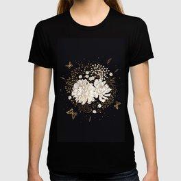 Hand drawn vintage bouquet flower on dark background illustration T-shirt