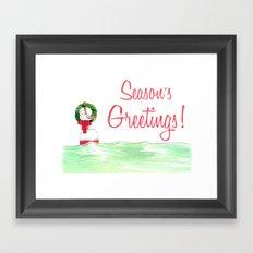 Season's Greetings Seagull  Framed Art Print