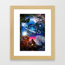 X . The Wheel Tarot Card Illustration Framed Art Print