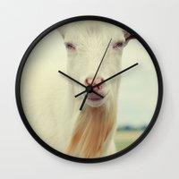 goat Wall Clocks featuring Goat by Falko Follert Art-FF77