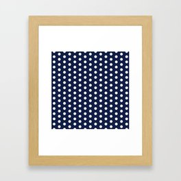 Indigo Navy Blue Polka Dot Framed Art Print