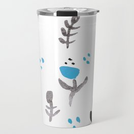 Wildflower Pattern Handpainted Black and Light Blue Travel Mug