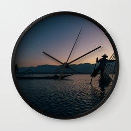 Burmese Fisherman at Dawn Wall Clock