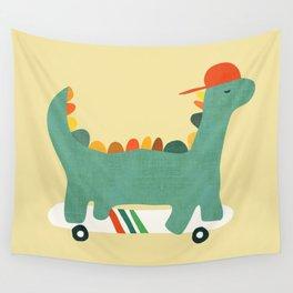Dinosaur on retro skateboard Wall Tapestry