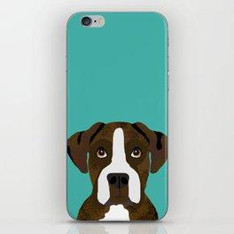 Boxer brindle coat dog breed pet portrait dog head peeking cute dog gifts for boxers iPhone Skin