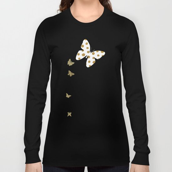 Golden touch III- Gold glitter effect polkadot pattern Long Sleeve T-shirt