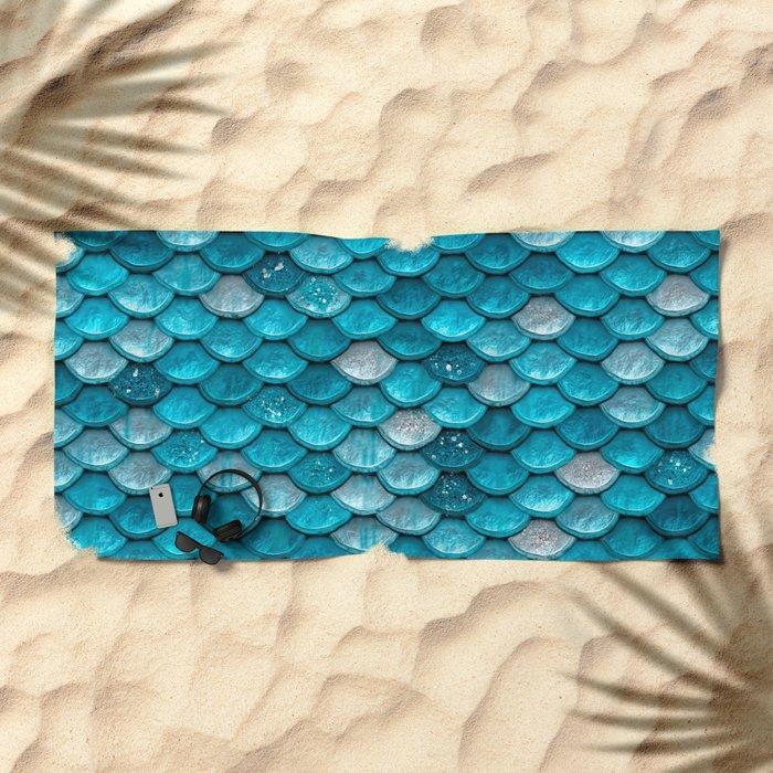 Luxury Turquoise Mermaid Sparkling Glitter Scales - Mermaidscales Beach Towel