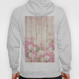 Beautiful Pink Tulip Floral Vintage Shabby Chic Hoody
