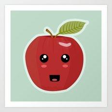 Kawaii Apple Art Print