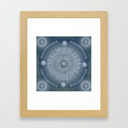 """Indigo blue & Cinder Vault Mandala(Silver stars)"" Framed Art Print"
