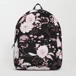 Blush pink white black rustic abstract floral illustration Backpack