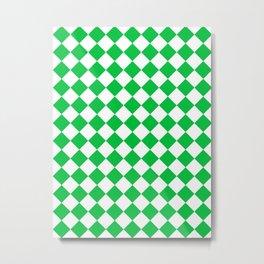 Diamonds - White and Dark Pastel Green Metal Print