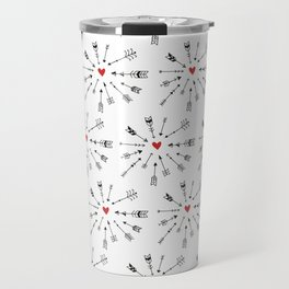 Hand painted abstract black red boho feathers pattern Travel Mug
