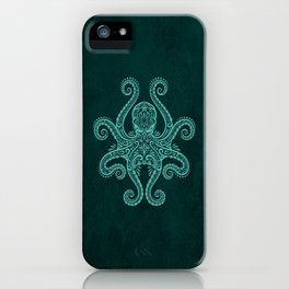 Intricate Teal Blue Octopus iPhone Case