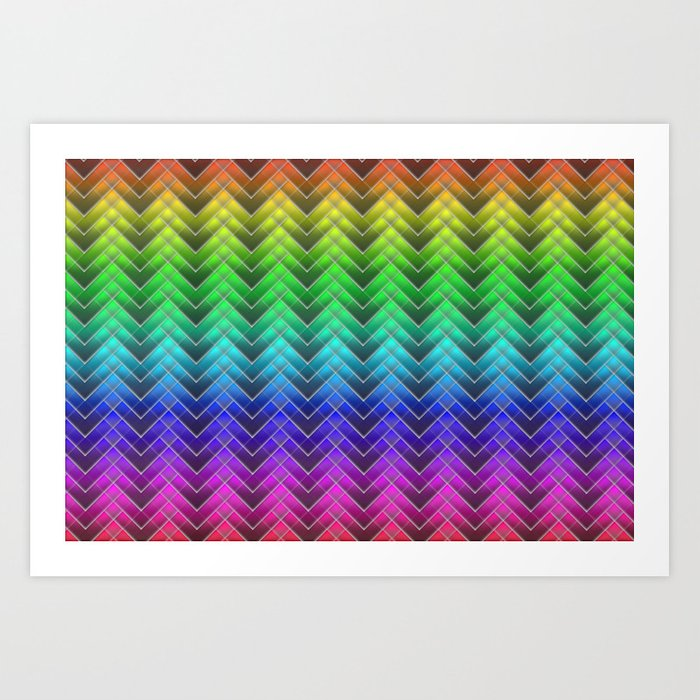 Zigzag pattern rainbow colors Art Print