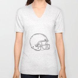 American Football Helmet Black and White Drawing Unisex V-Neck