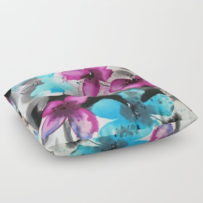 Watercolor flowers Floor Pillow