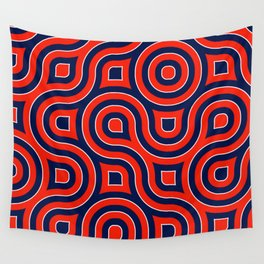 Red Deep blue spirale Wall Tapestry