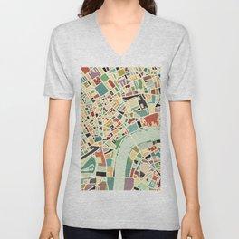 CITY OF LONDON MAP ART 01 Unisex V-Neck