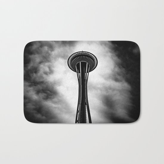 Space Needle Black and white Bath Mat