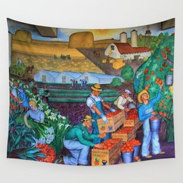 Orange Grove harvest portrait painting WPA mural Wall Tapestry