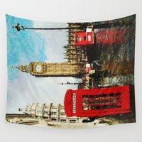 england Wall Tapestries featuring London, England by Abby Gracey