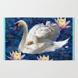 White Swan & Peach Water Lilies Blue Art Rug