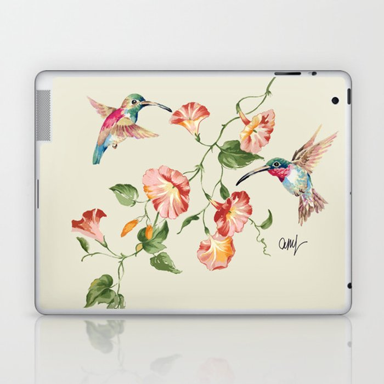 hummingbirds & morning glories Laptop & iPad Skin