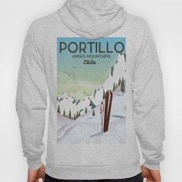 Portillo Ski Chile Ski travel poster. Hoody
