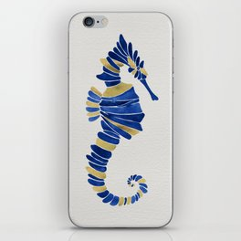 Seahorse – Navy & Gold iPhone Skin