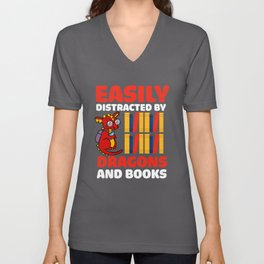 Distracted By Dragons And Books Unisex V-Neck