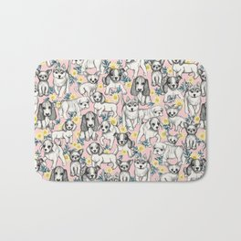 Dogs and Daisies on Pink Bath Mat