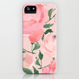 Watercolor Peonies with Blush Background iPhone Case