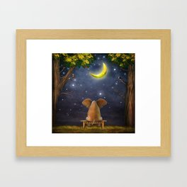 Illustration of a elephant on a bench in the night forest  Framed Art Print