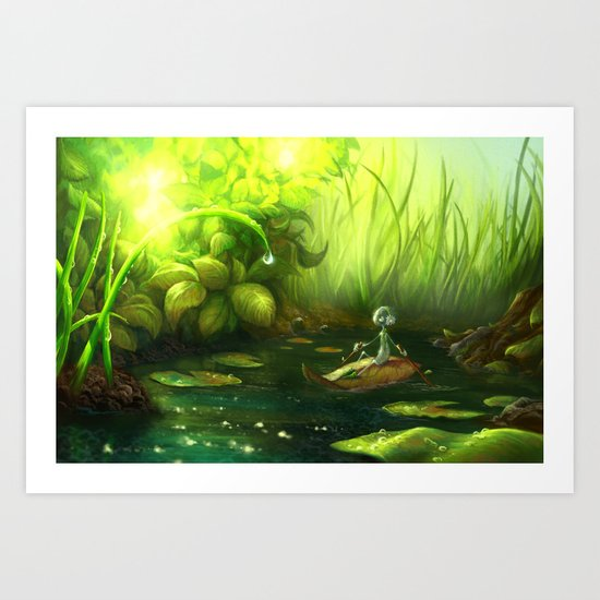 Rowing Down the River Art Print