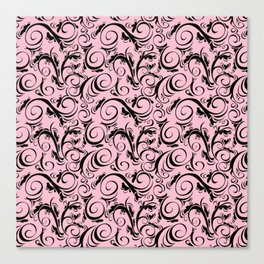Pink & Black Flourish Pattern Canvas Print