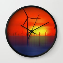 Wind Farms in the Sunset (Digital Art) Wall Clock