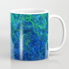 Neon blue green psychedelic Japanese paper abstract art Coffee Mug