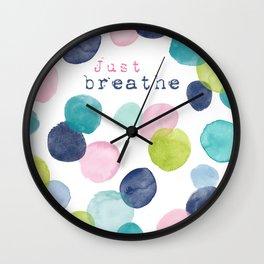 Just Breathe Watercolor Wall Clock